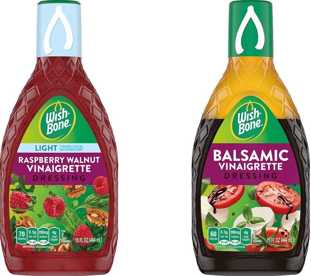 Two bottles of Wishbone Salad Dressing