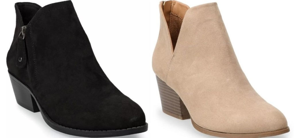 two pairs of women's booties