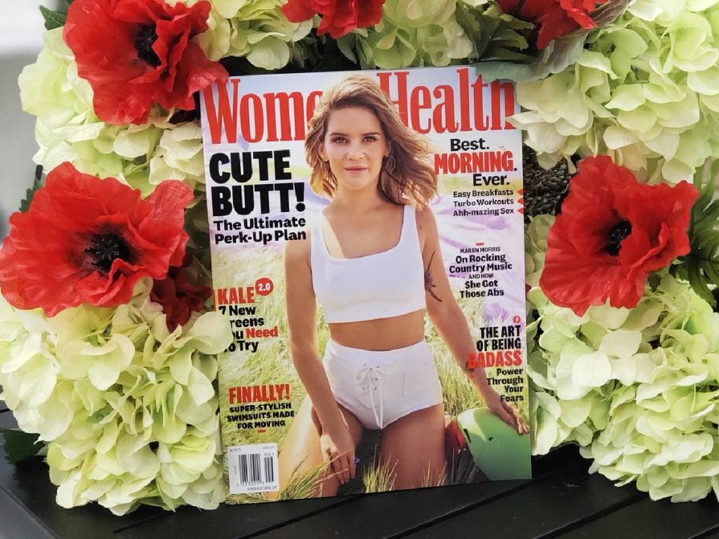 Women's Health magazine on flowers