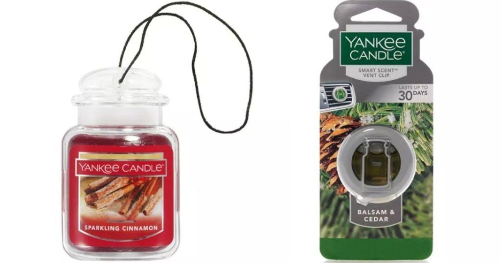 two Yankee Candle car fresheners