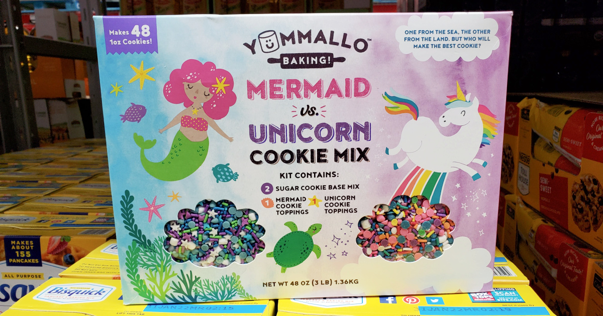 mermaid and unicorn cookie mix box on display in store