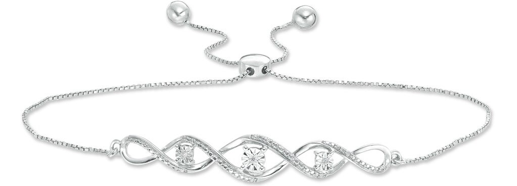 silver bracelet with diamond accents