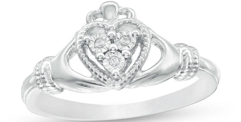 silver and diamond claddagh ring