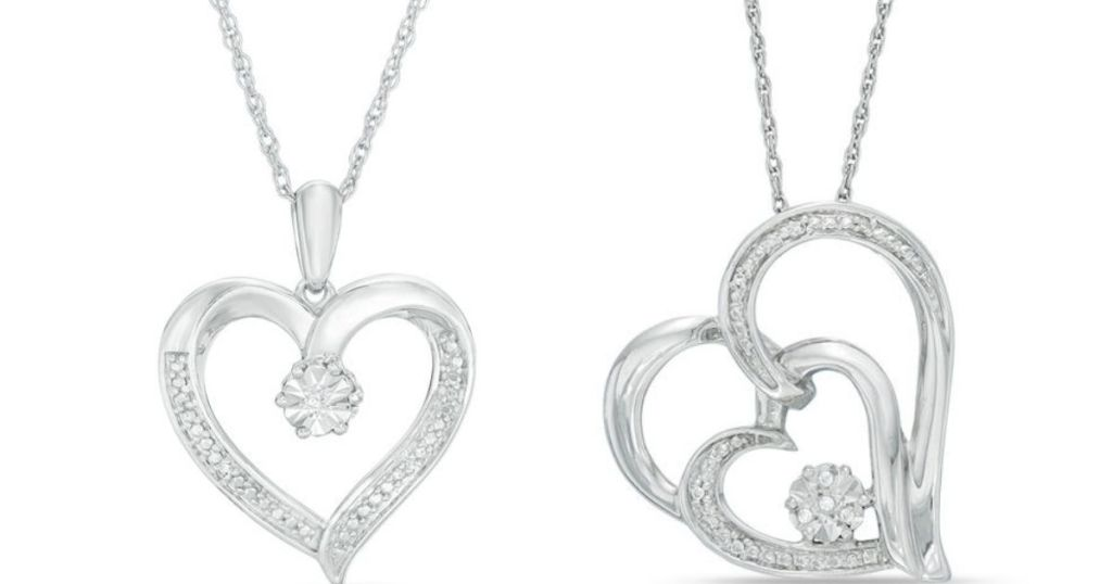 two heart shaped necklaces