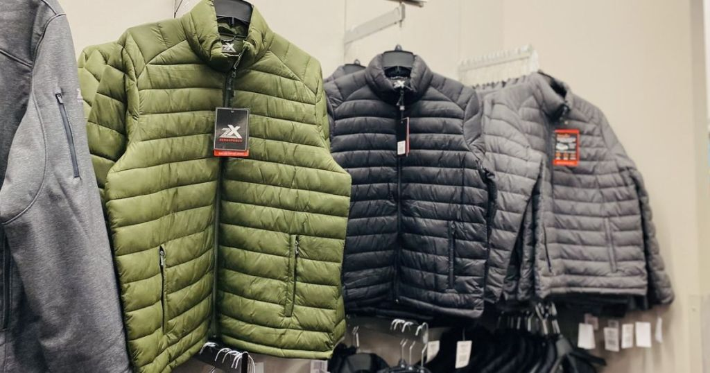 ZeroXposur mens puffer jackets at store on rack
