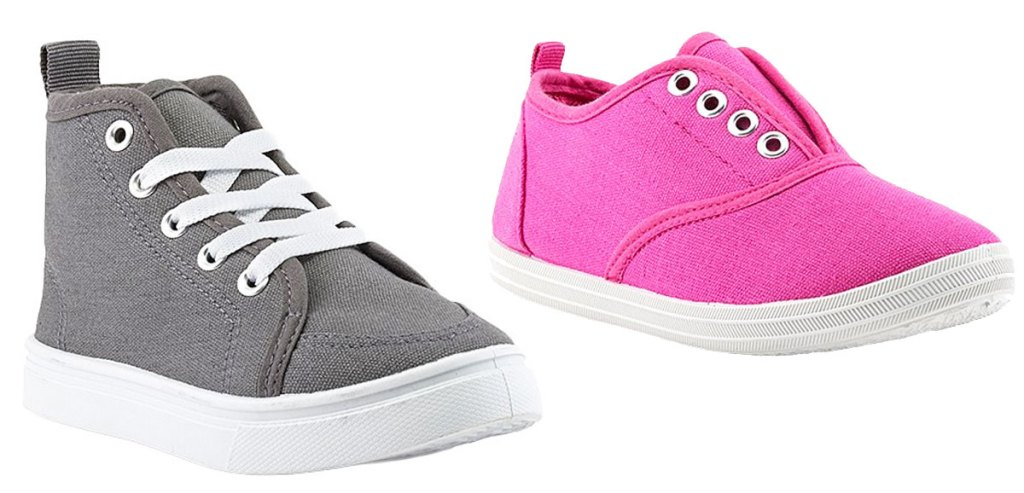 grey and pink kids sneakers