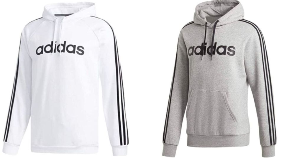 white and gray adidas hoodies