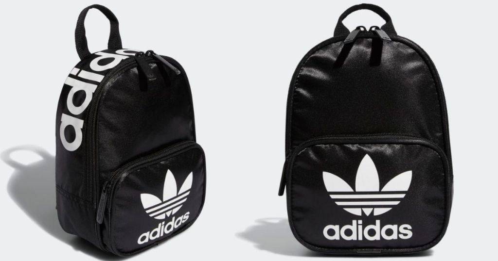 side and front view of black and white adidas mini backpack