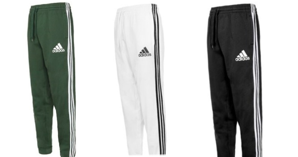 green, white and black adidas pants