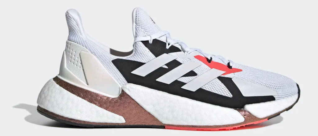 red, white and black sneaker