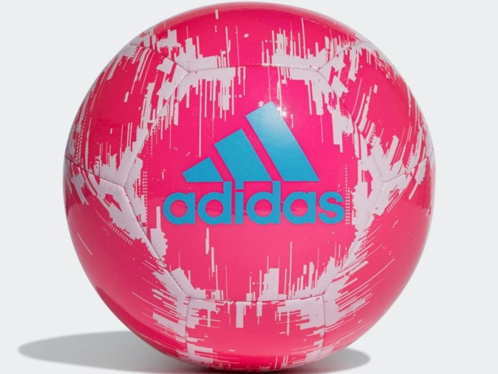 hot pink white and blue adidas soccer ball