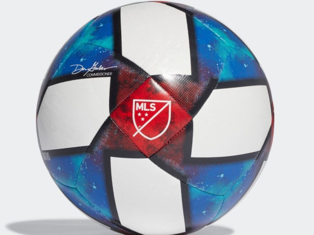 white blue and red soccer ball