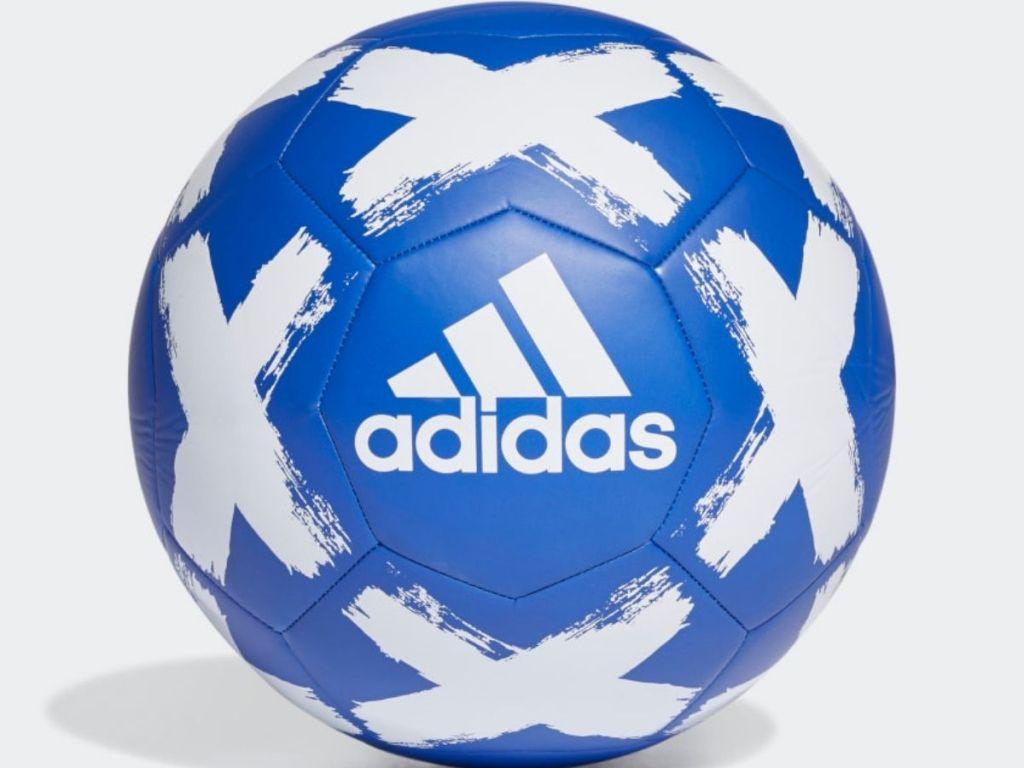 royal blue and white adidas soccer ball