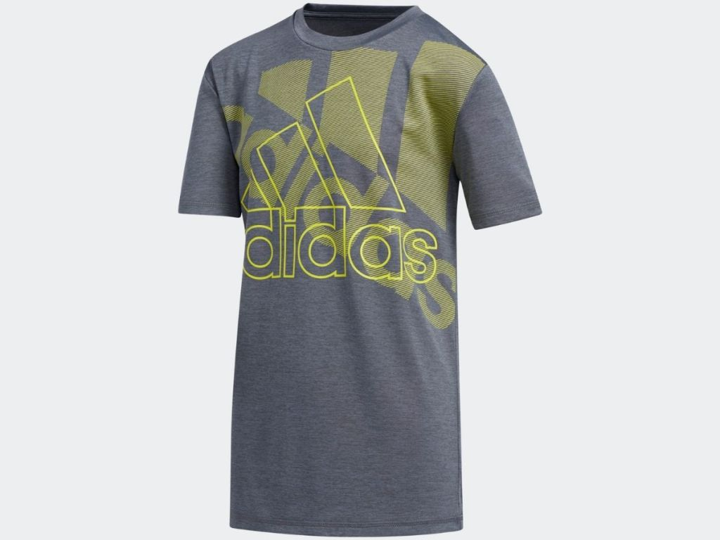 gray and green adidas graphic tee