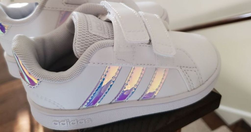 pair of white toddler sneakers