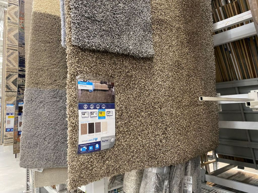 area rugs on display at Lowe's