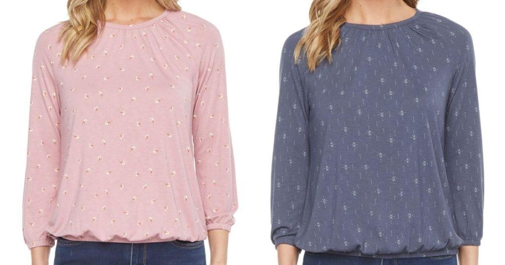 two women wearing 3/4 sleeve shirts