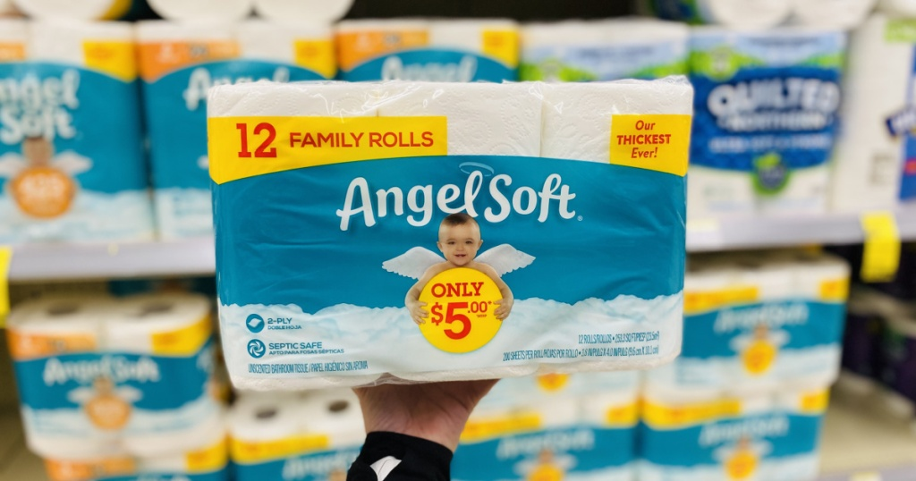 angel soft toilet paper in hand in store