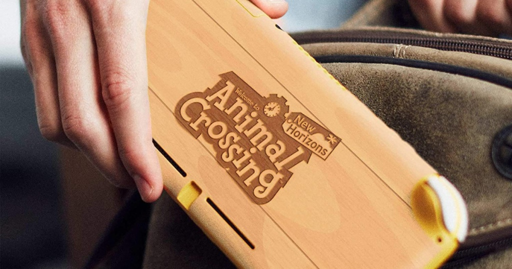 animal crossings nintendo switch skin in hand going into bag