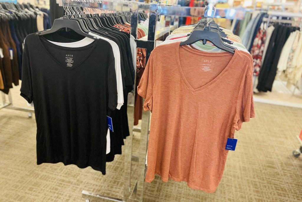 apt 9 womens tees on hangers in store