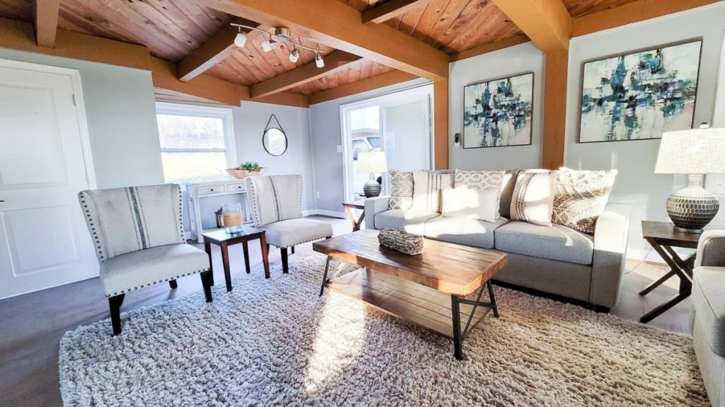 rustic living room with neutral decor