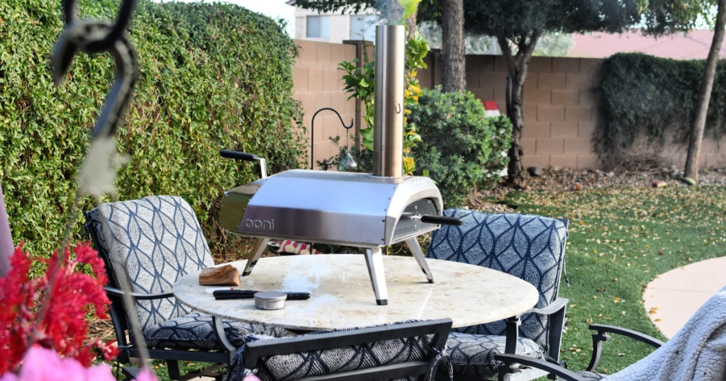 backyard with ooni pizza oven