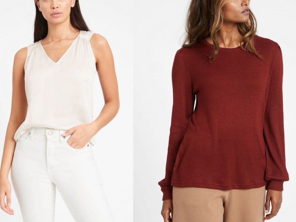 white satin tank and red sweater