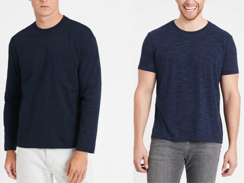 blue long sleeved tee and short sleeved tee