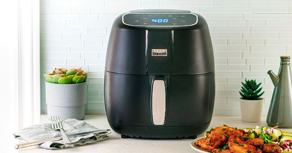 Bella air fryer with matte black finish on counter