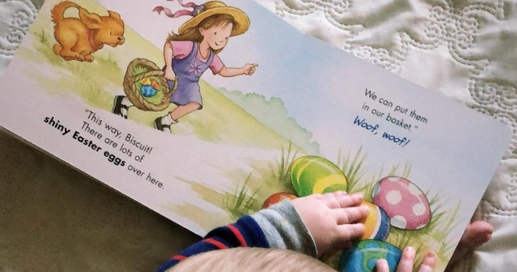 baby reading Biscuit's Pet & Play Easter
