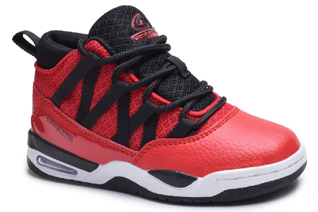 boys high top shoes red and black