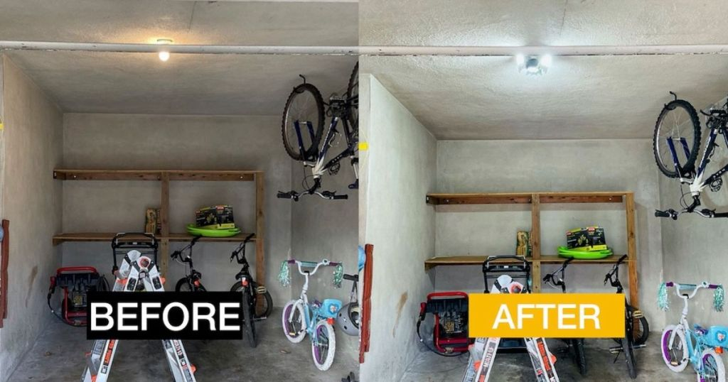 before and after pic of light in garage