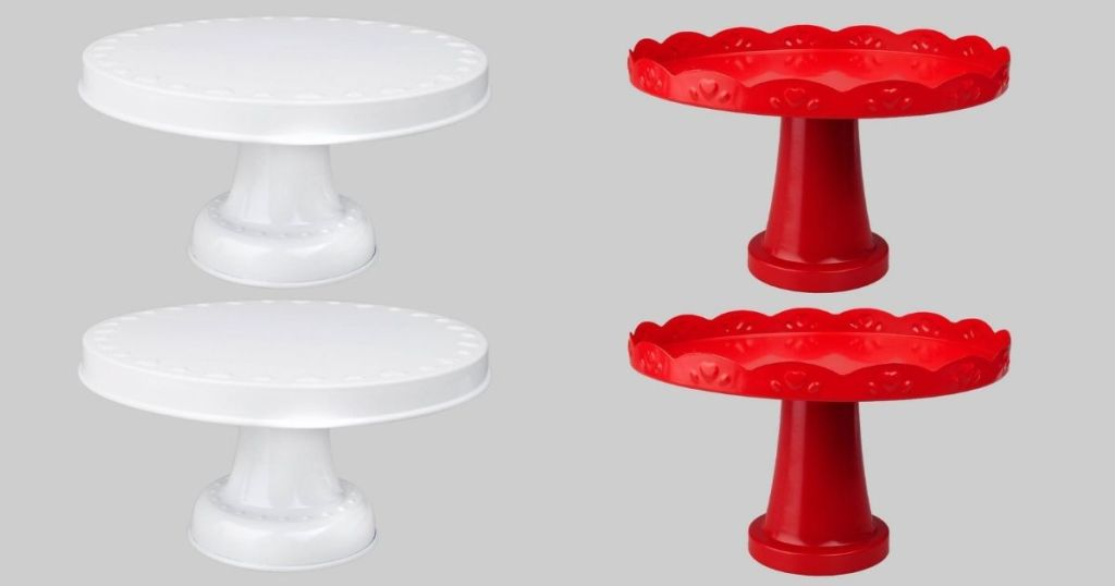 white and red cake stands