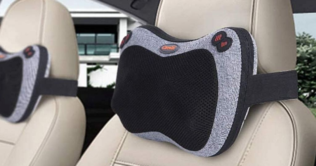 massage pillow tied onto car seat