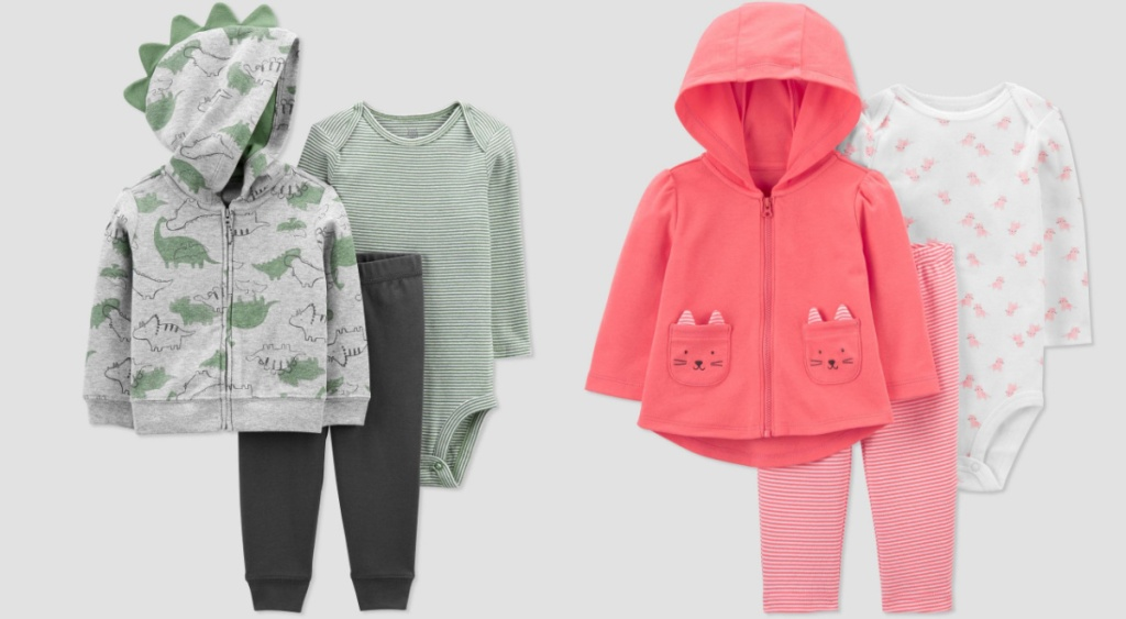 carters baby sets dino and cat