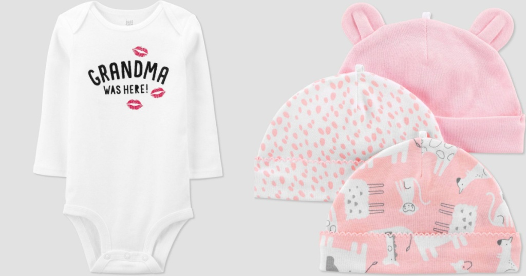 carters girl bodysuit and hats