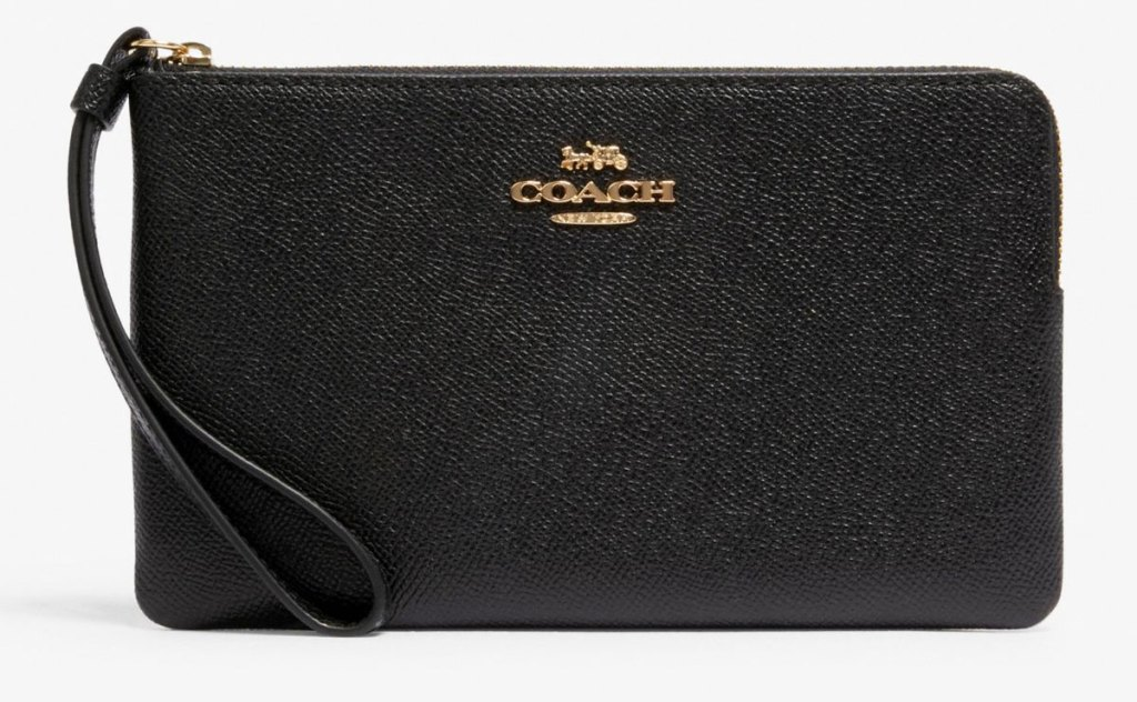 black coach wristlet with zipper at top