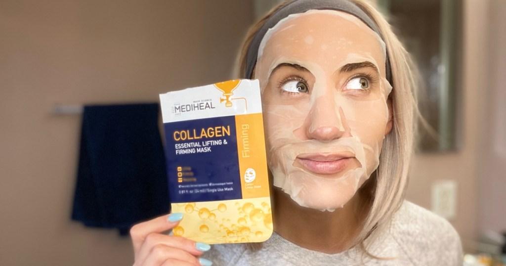 collgen mediheal mask on womans face