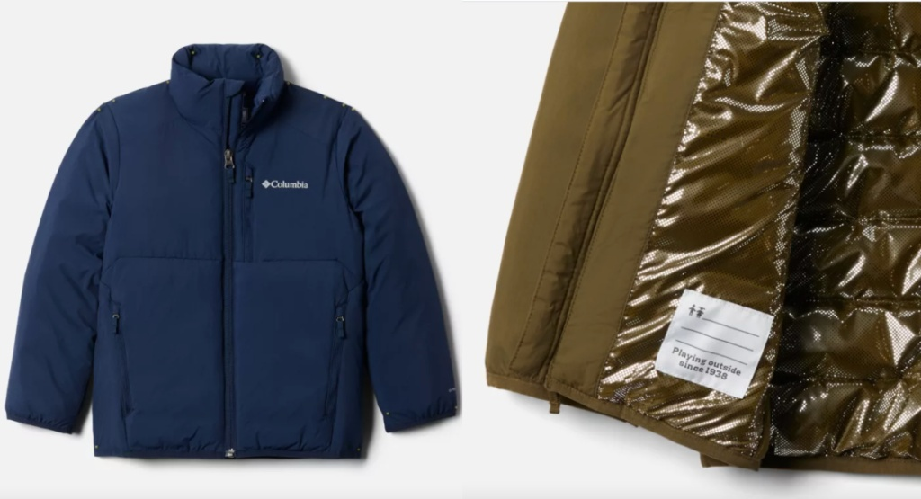 columbia grand jacket navy blue and showing inside