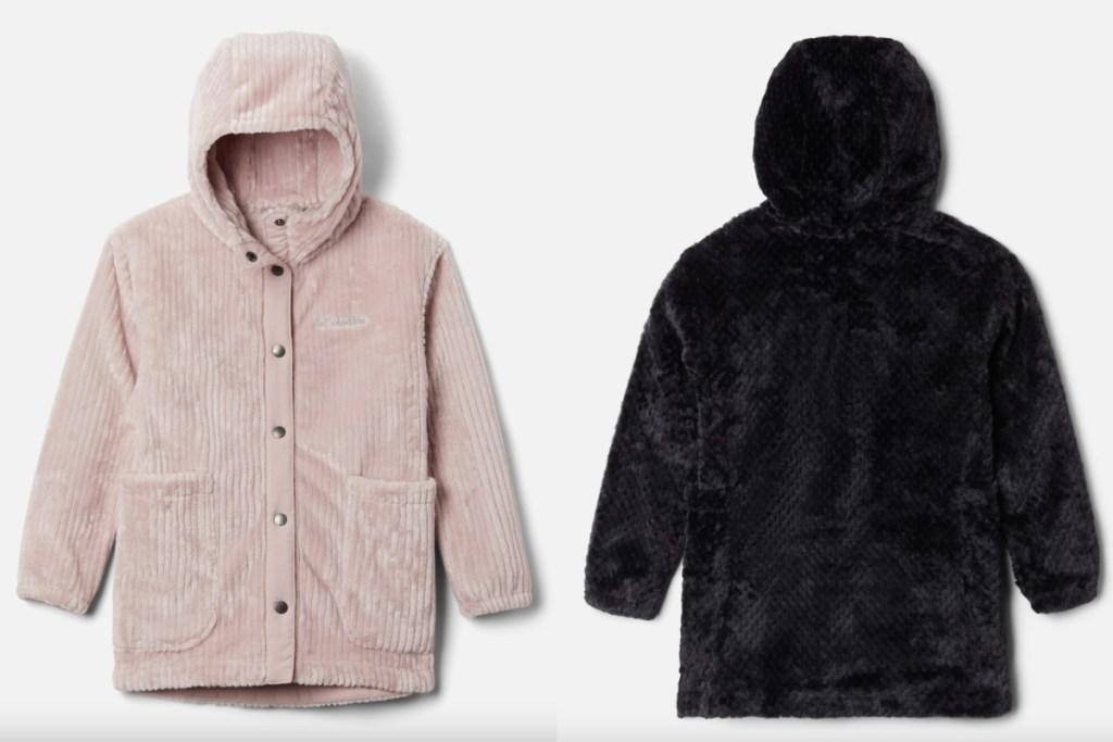 columbia sherpa jacket blush pink and black