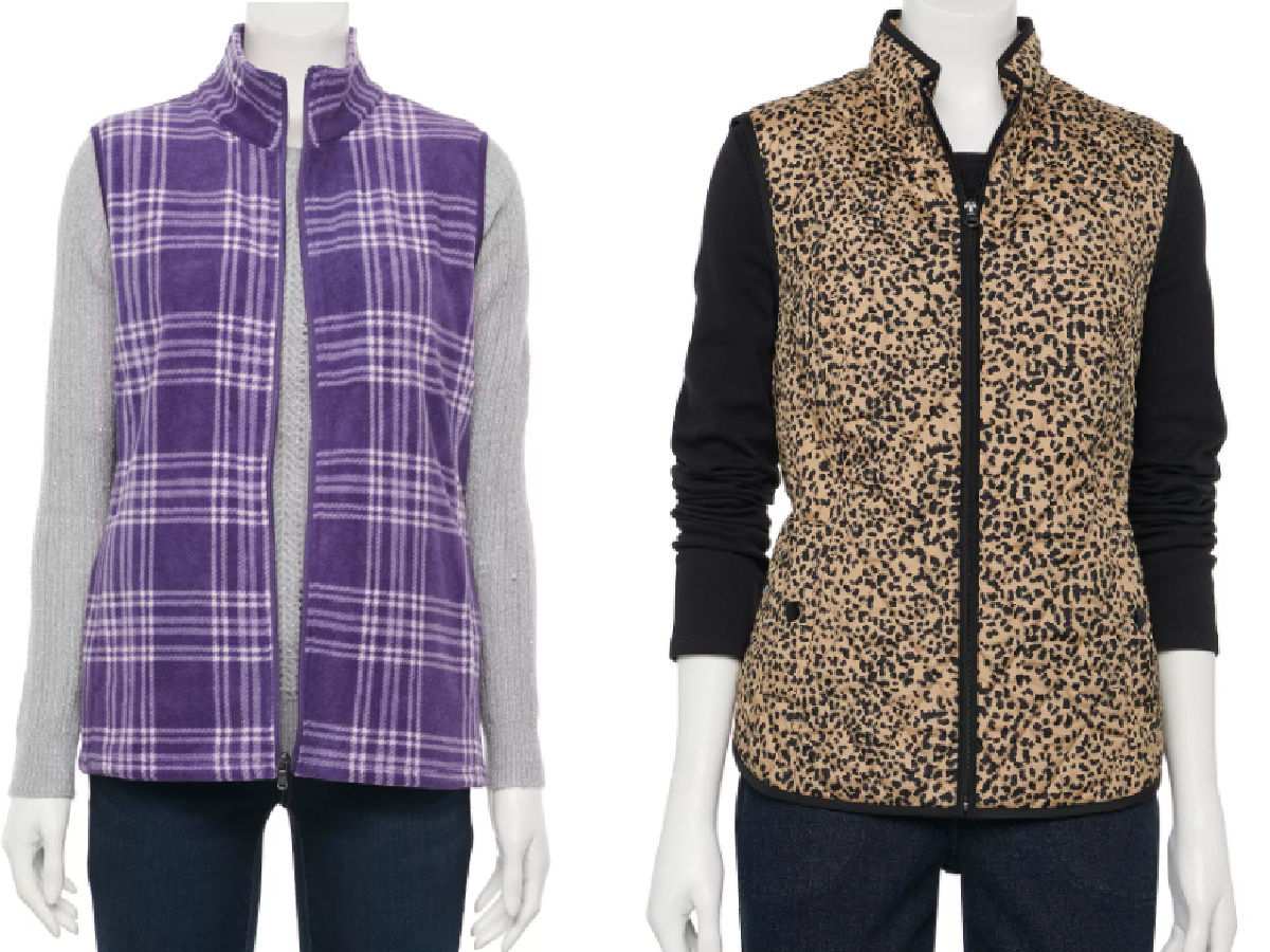 purple and white fleece vest and animal print vest
