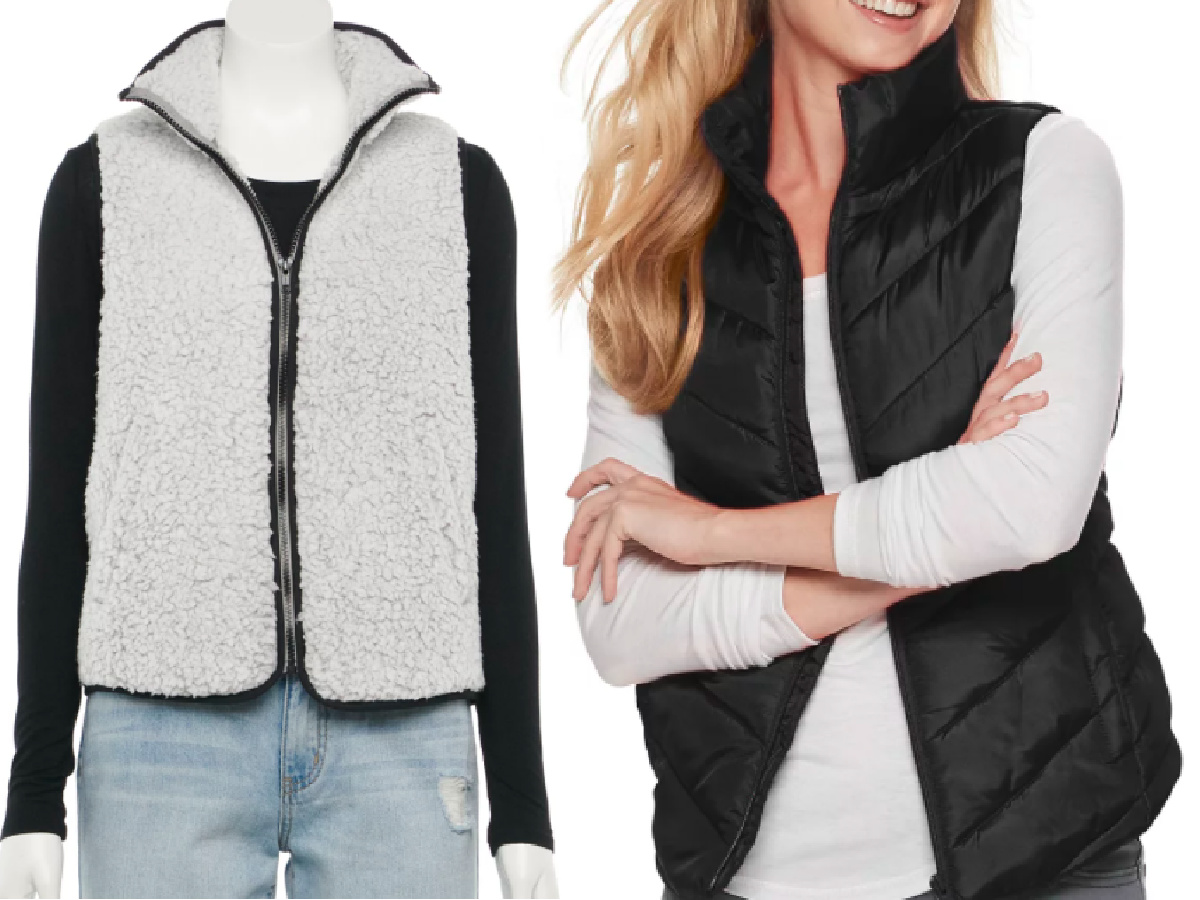 gray vest with piping and black quilted vest