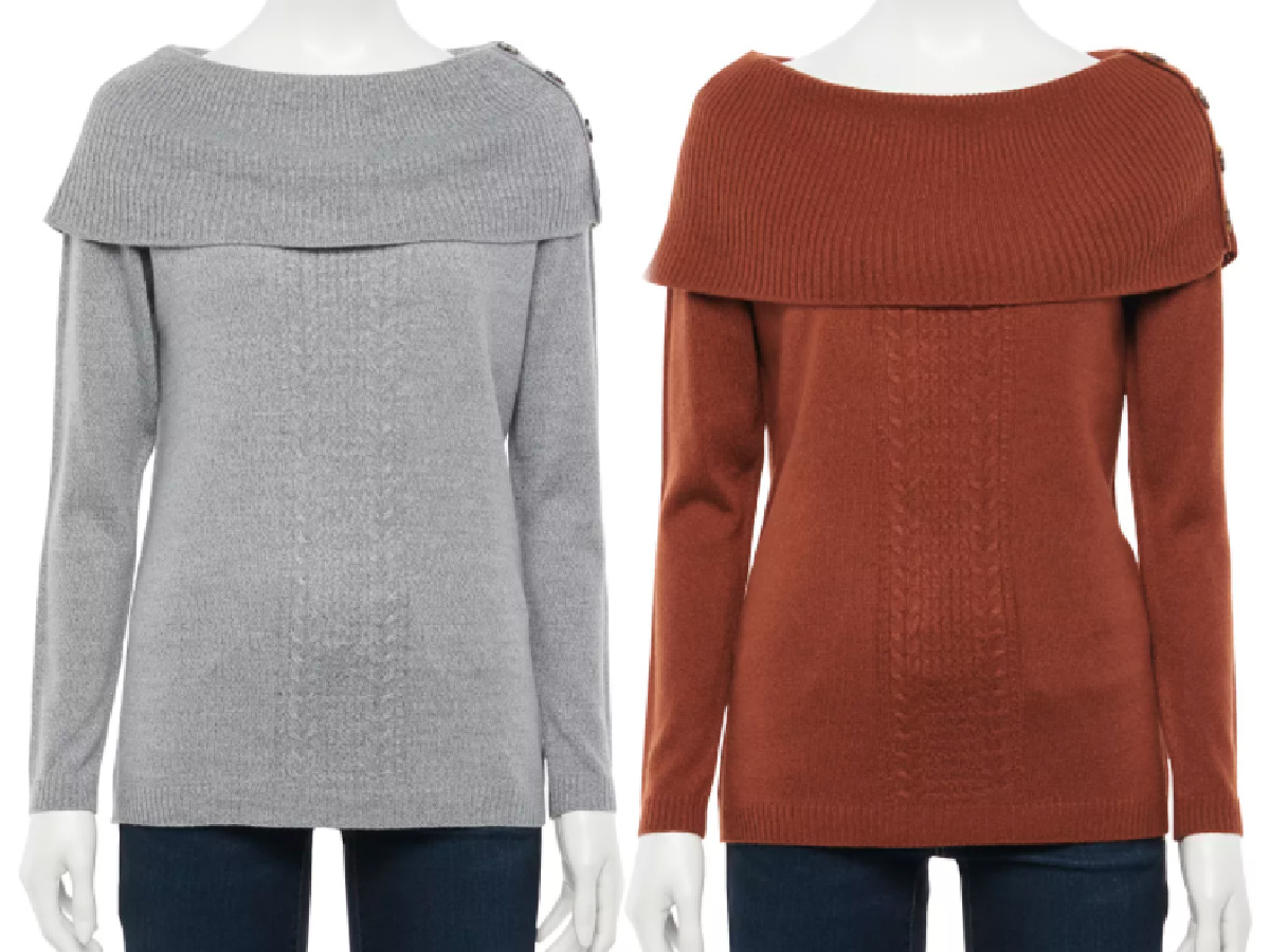 gray and burnt orange sweaters