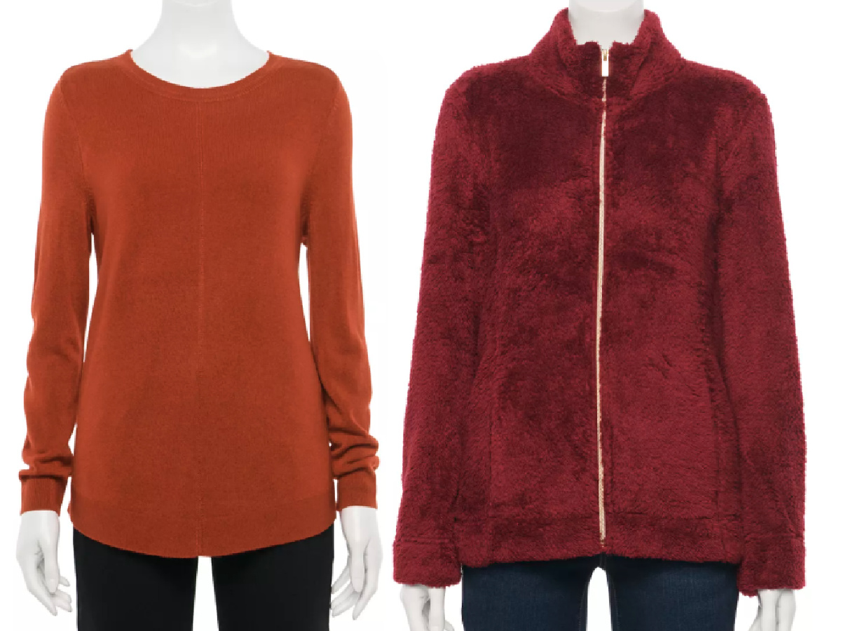 burnt orange sweater and burgundy jacket