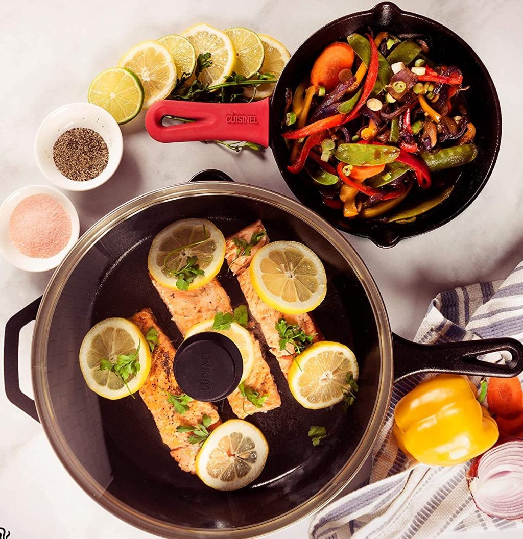 cusinel cast iron 2 pan set with food in it