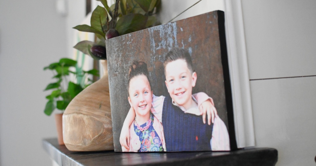 diy photo canvas on the mantle