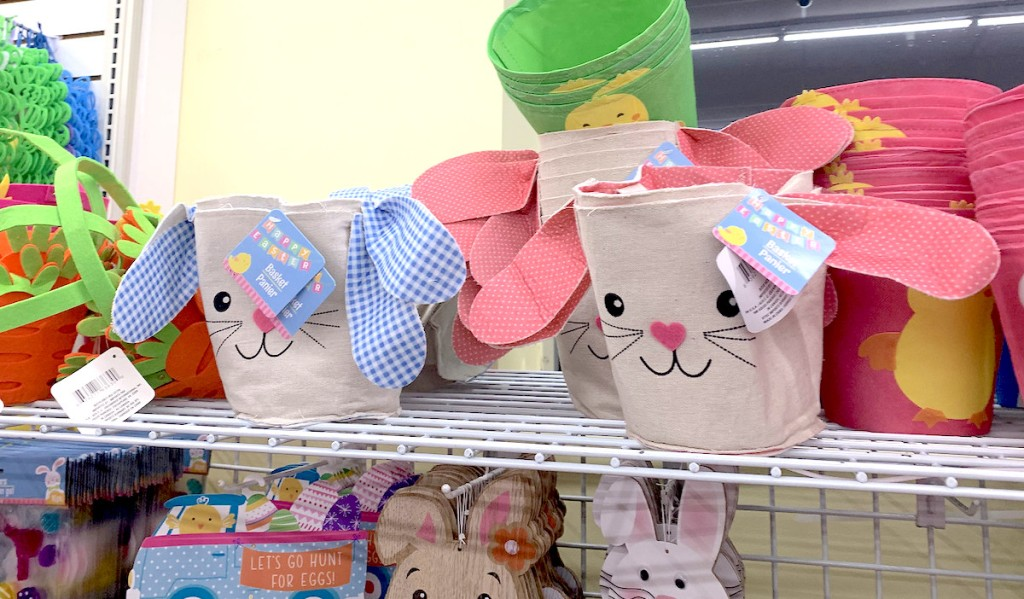 bunny shaped easter baskets sitting on store shelf