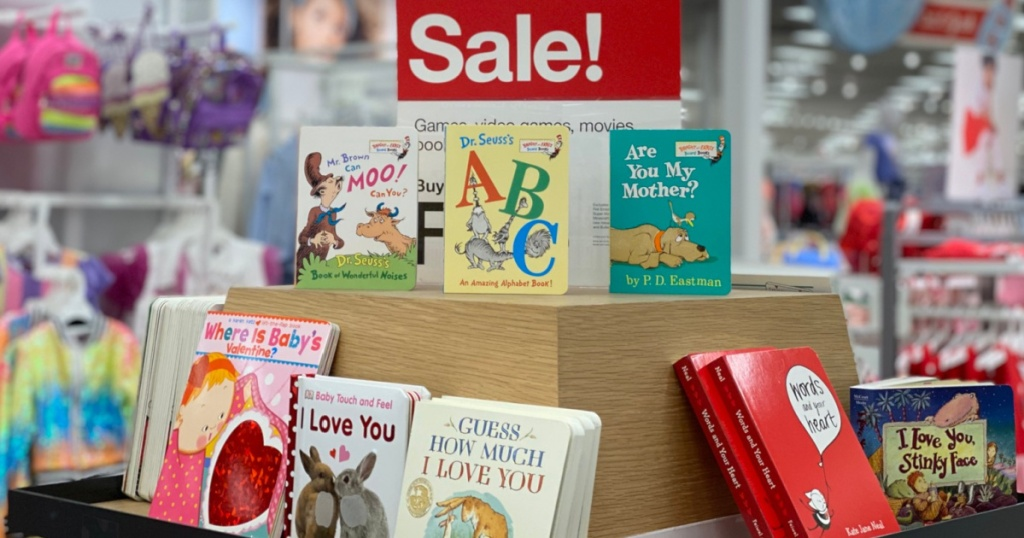dr seuss books at target in store next to sale sign