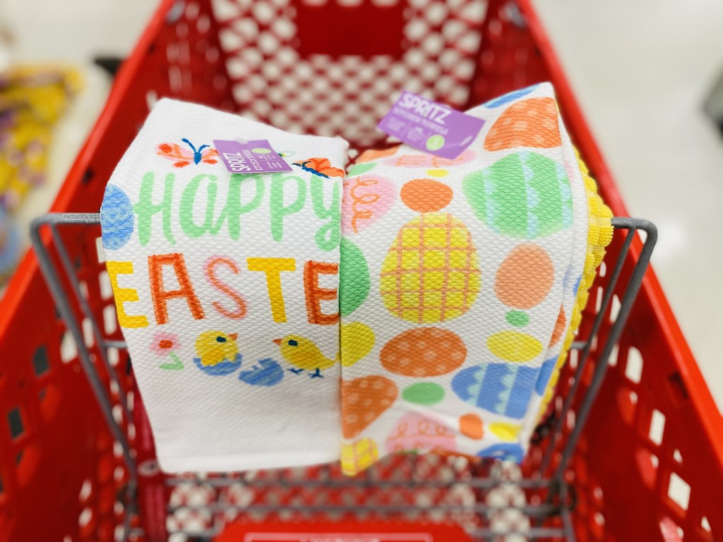 easter dish towels in store at target in cart