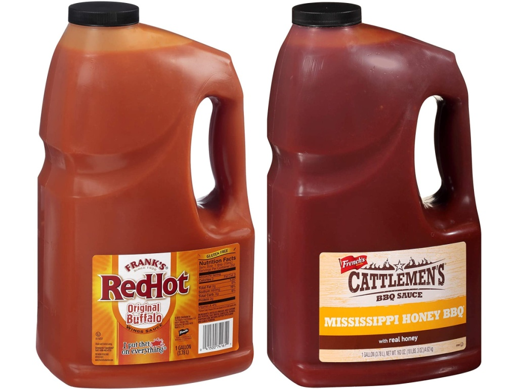 frank's red hot original buffalo 1 gallon sauce and cattleman's bbq sauce